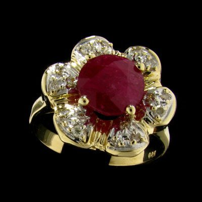 747: APP: 5.2k 14 kt. Yellow/White Gold, 3.00CT Ruby an