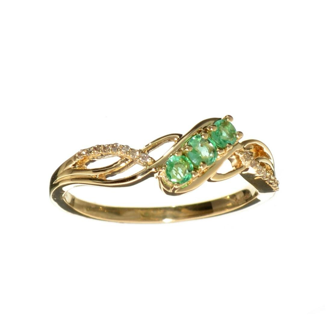Designer Sebastian 14 KT Gold 0.35CT Emerald and 0.04CT