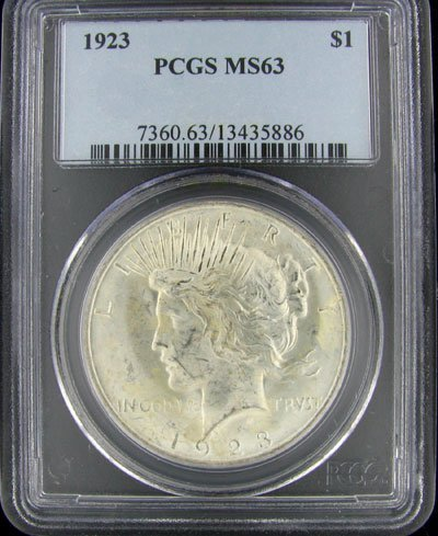 5: 1923 US Peace Type Silver Dollar Coin - Investment P