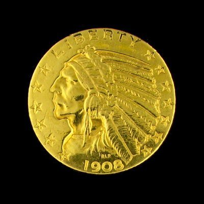 19: 1908 $5 US Indian Head Type Gold Coin - Investment