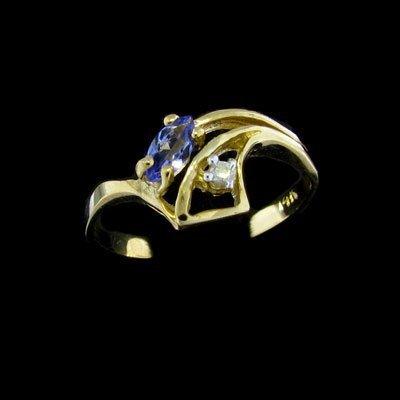 39: 14 kt. Gold, 0.12CT Tanzanite and 0.02CT Diamond Ri