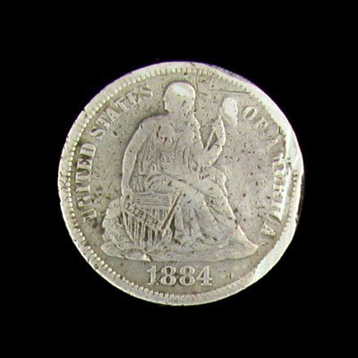 41: 1884 Seated Liberty Dime Coin - Investment Potentia