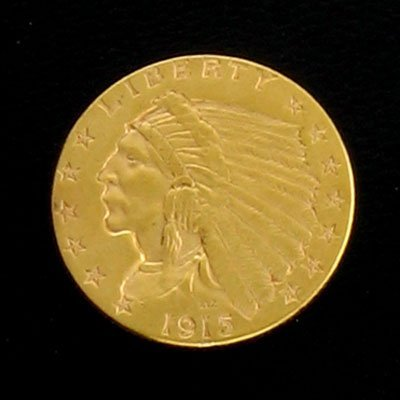 1721: 1915 $2.5 US Indian Head Type Gold Coin - Investm