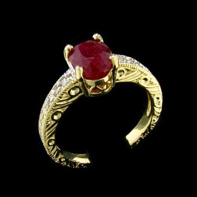 25: APP: $5.5k 14 kt. Gold, 1.86CT Ruby and Diamond Rin