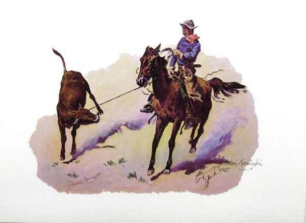 31: FREDERIC REMINGTON Cowboy Leading Calf, Print