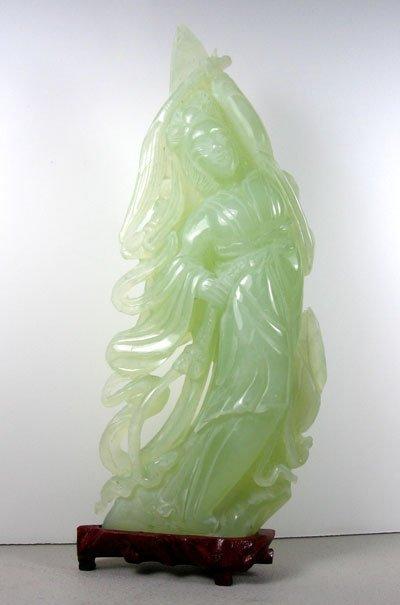 2712: Rare Hand Carved Jade Sculpture-Translucent Green