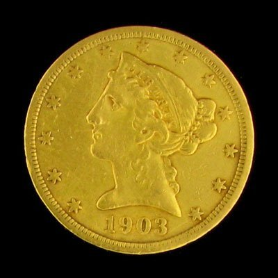 2722: 1903-S $5 US Liberty Head Type Gold Coin-Investme