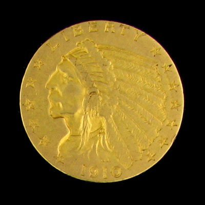 2736: 1910 $2.5 US Indian Head Type Gold Coin-Investmen