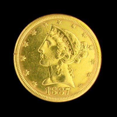 2305: 1887-S $5 Liberty Head Type Gold Coin - Investmen