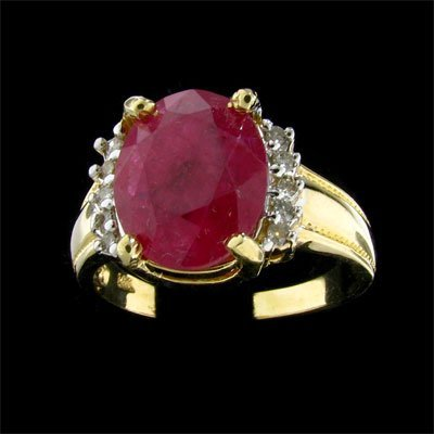 2313: APP: $7k 14 kt. Gold, 3.92CT Ruby and Diamond Rin