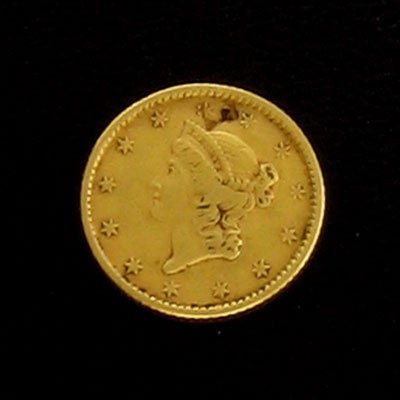 2904: 1853 $1 US Liberty Head Type Gold Coin-Investment