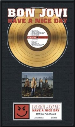 2940: BON JOVI ''Have A Nice Day'' Gold Record- Collect