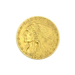 Rare 1914D 250 US Indian Head Gold Coin