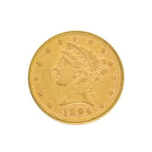 Extremely Rare 1894 5 US Liberty Head Gold Coin