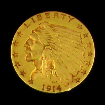 7: 1914 $2.5 US Indian Head Type  Gold Coin-Investment