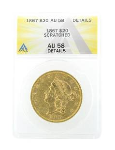 Extremely Rare 1867 20 US Liberty Head Gold Coin