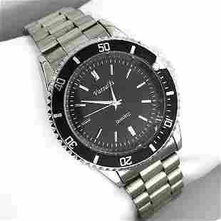 Varsales Mens Stainless Steel Silver and Black Watch