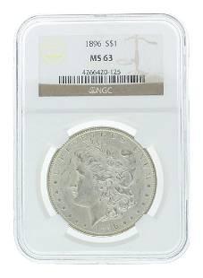 Extremely Rare 1896 US Morgan Silver Dollar Coin