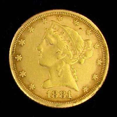 234: 1881 $5 Liberty Head Type Gold Coin - Potential In