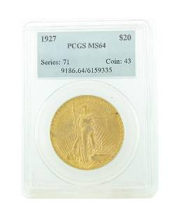 *Extremely Rare 1927 $20 St. Gaudens U.S. Gold Coin