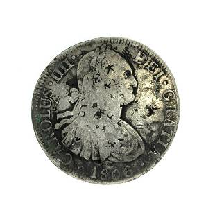 1806 Eigth Reales Americas First Silver Dollar Coin