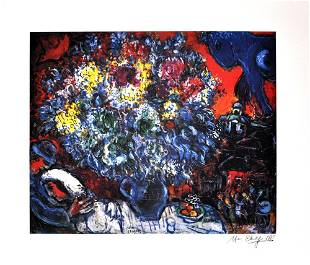 MARC CHAGALL After Bouquet de Fleurs et Amants