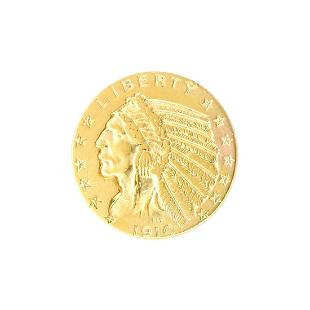 Extremely Rare 1910 $5 U.S. Indian Head Gold Coin -
