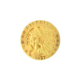 Extremely Rare 1927 250 US Indian Head Gold Coin