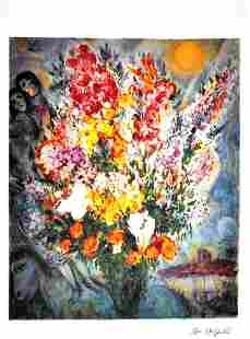 MARC CHAGALL After Floral Bouquet Print I459 of 500