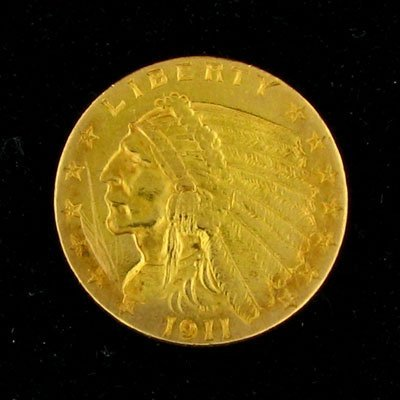 506: 1911 $2.5 US Indian Type Gold Coin, Potential Inve