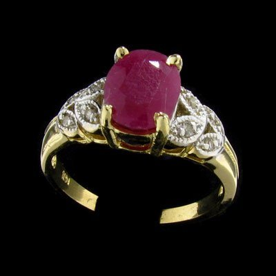 813: APP: $2k 14 kt. Yellow/White Gold, 2.21CT Ruby and
