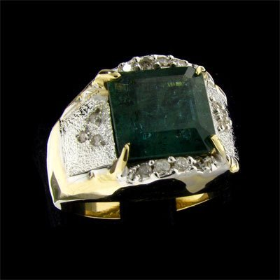 825: APP: $10.7k 14 kt. Gold, 5.78CT Emerald and Diamon