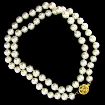 843: 14 kt. Gold, Pearl Necklace - Beautiful