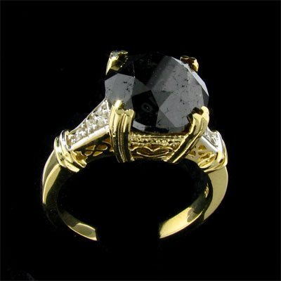 1927: APP: $11.6k 14 kt. Gold, 5.35CT Rare Black Diamon