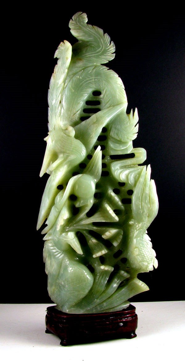 214: Rare Jade Hand Carved Translucent Green, Collect