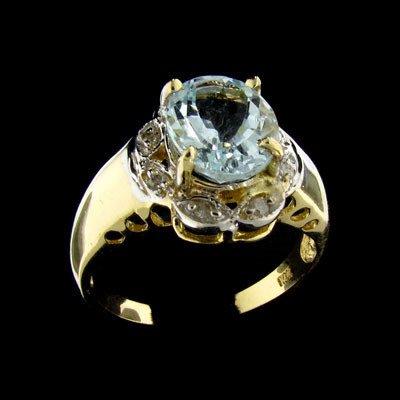 218: APP: $ 3.3k 14 kt. Gold, 2.25CT Aquamarine and Dia