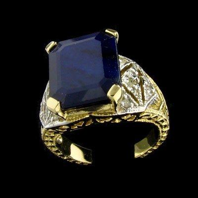 527: APP: $12k 14 kt. Gold, 8.60CT Sapphire and Diamond