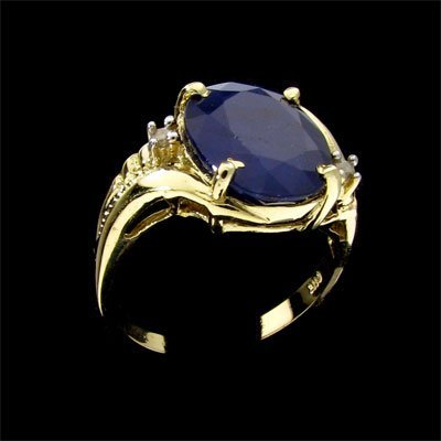 2811: APP: 9.6k 14 kt. Gold, 5.95CT Sapphire and Diamon