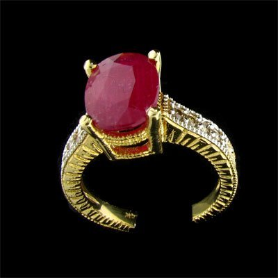 2819: APP: 6.8k 14 kt. Gold, 2.78CT Ruby and Diamond Ri