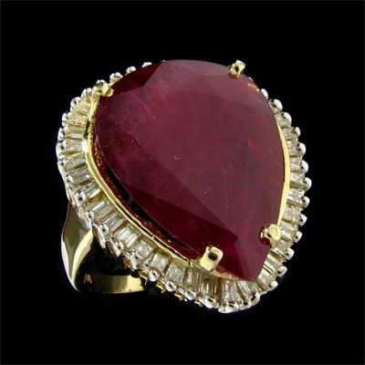 2923: APP: 63.3k 14 kt. Gold, 15.70CT Ruby and Diamond