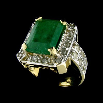 211: APP: 14.6k 14 kt. Y/W Gold, 3.90CT Emerald and Dia