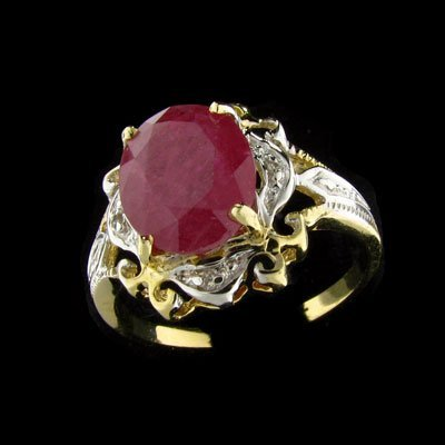 221: APP: 2.8k 14 kt. Y/W Gold, 2.85CT Ruby and Diamond