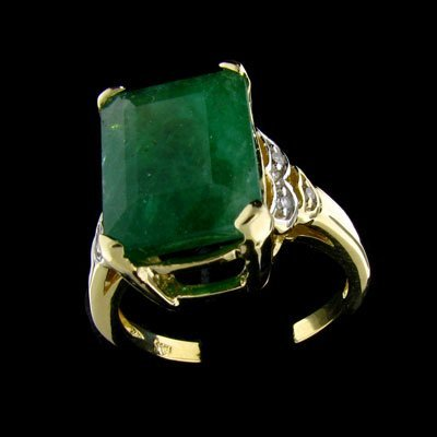 227: APP: 14.6k 14 kt. Y/W Gold, 6.29CT Emerald and Dia