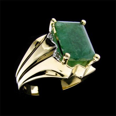 245: APP: 8.4k 14 kt. Y/W Gold, 4.63CT Emerald and Diam