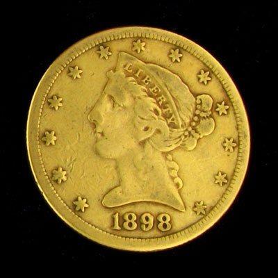 2038: 1898-S $5 US Liberty Head Type Gold Coin - Invest
