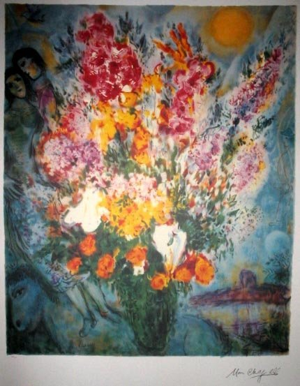 2207: MARC CHAGALL Floral Bouquet Print, Collect!