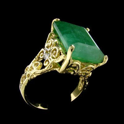 2219: APP: $21.1k 14 kt. Gold, 9.56CT Emerald and Diamo