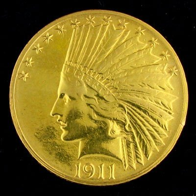 2223: 1911-S $10 US Indian Head Type Gold Coin - Potent