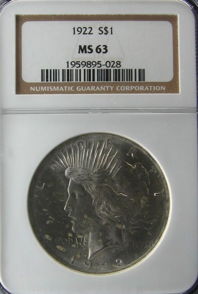 2508: 1922 Peace Type Silver Dollar Coin, Investment Po