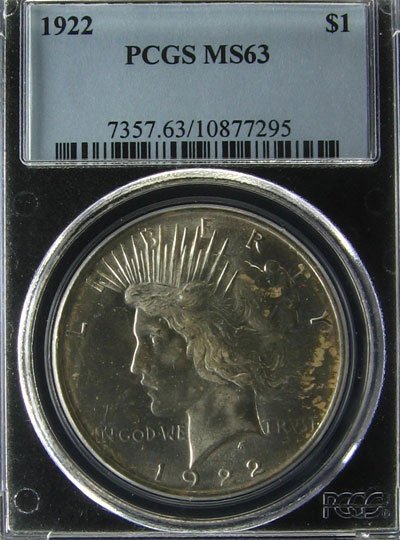 2526: 1922 Peace Type Silver Dollar Coin, Investment Po